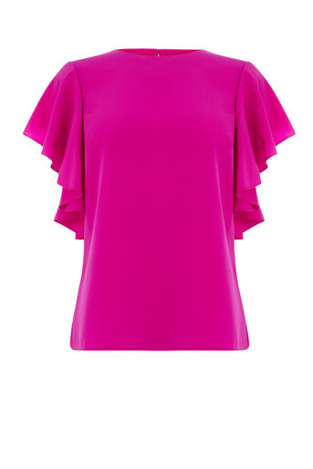 Warehouse, RUFFLE TOP Bright Pink 0
