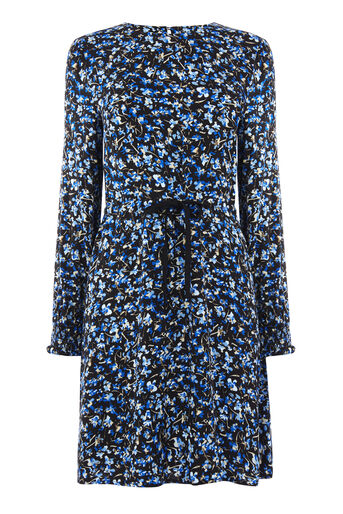 Warehouse, MINI MARIGOLD FLIPPY DRESS Blue Pattern 0