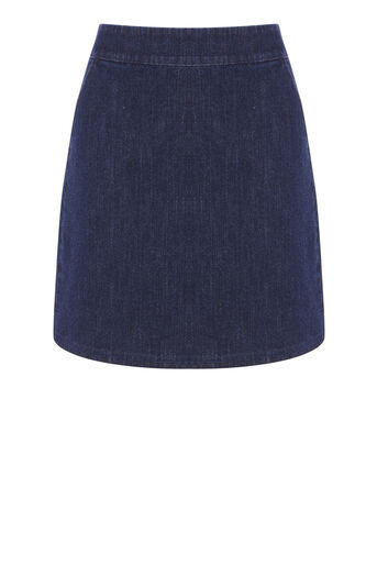 Warehouse, A LINE DENIM SKIRT Indigo Denim 0