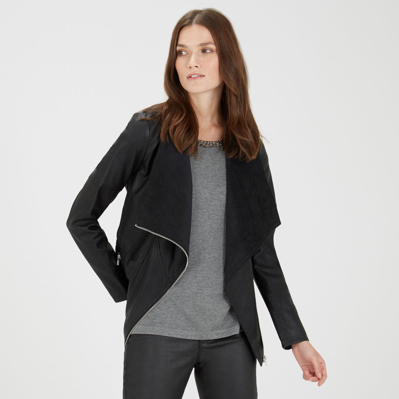 Warehouse, Cowl Neck Faux Leather Jacket Black 1