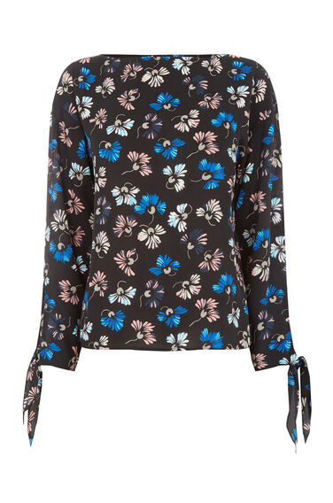 Warehouse, DANDY FLOWER TIE SLEEVE TOP Black Pattern 0