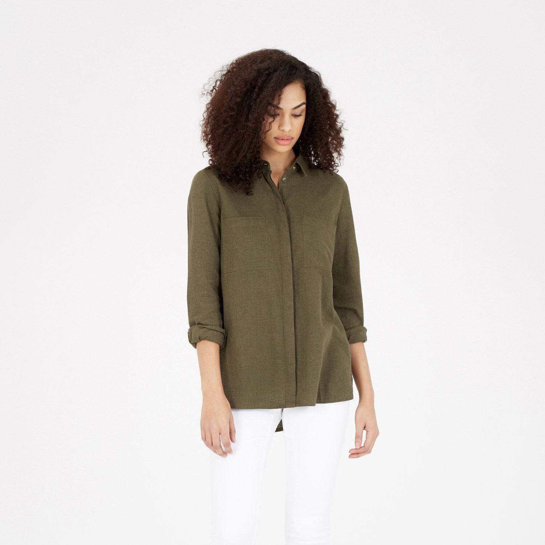 Warehouse, Relaxed Curved Hem Shirt Khaki 1