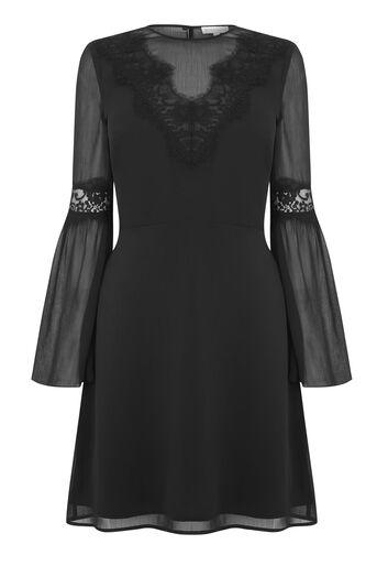 Warehouse, LACE NECK TRIM DRESS Black 0