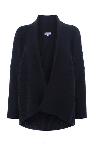 Warehouse, ASYMMETRIC WRAP POPPER CARDI Navy 0