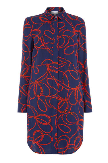 Warehouse, ROPE PRINT SHIRT DRESS Navy 0