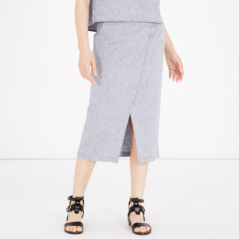 Warehouse, Linen Wrap Midi Skirt Light Blue 1