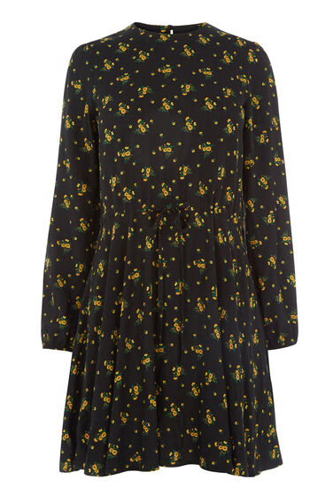 Warehouse, DAISY BUNCH SKATER DRESS Black Pattern 0