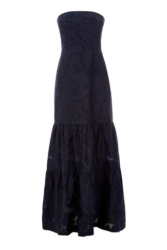 Warehouse, STRAPLESS BURN OUT DRESS Navy 0