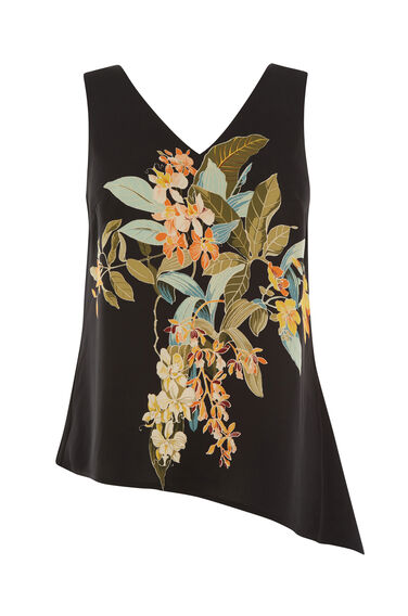 Warehouse, TROPICAL GARDEN PRINT TOP Black 0