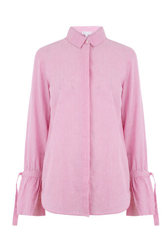 Warehouse, SEERSUCKER TIE CUFF SHIRT Pink Stripe 0