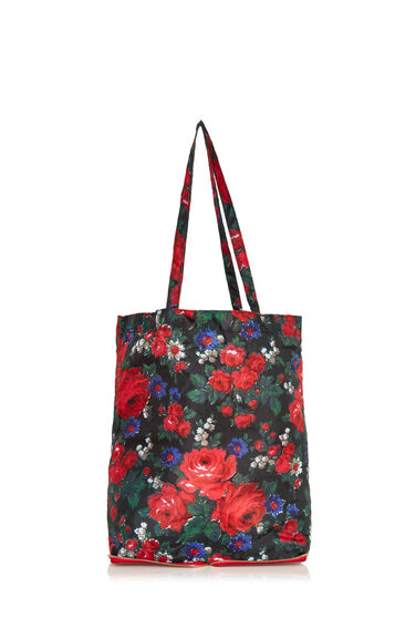 Warehouse, Lupita Rose Zip Shopper Bag Red Pattern 0