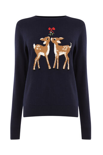 Warehouse, CHRISTMAS DEER JUMPER Navy 0