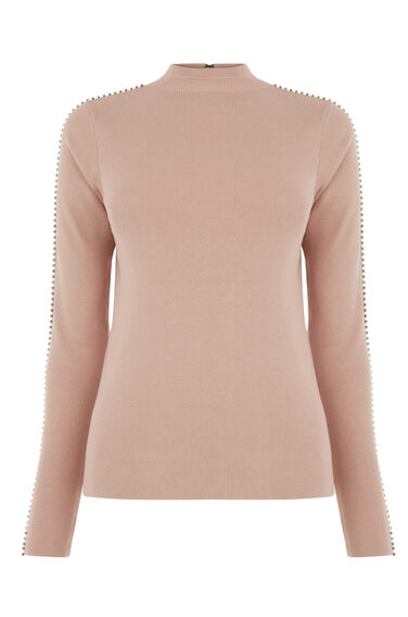 Warehouse, EMBELLISHED SLEEVE JUMPER Light Pink 0