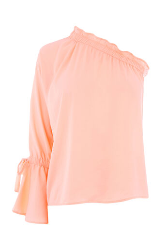 Warehouse, LONG SLEEVE ONE SHOULDER TOP Light Pink 0