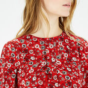 Warehouse, Floral Button Back Blouse Red Pattern 4