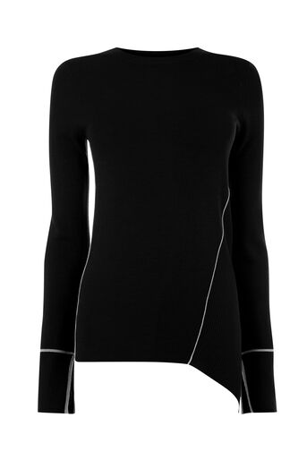 Warehouse, ASYMMETRIC PIPED SIDE JUMPER Black 0