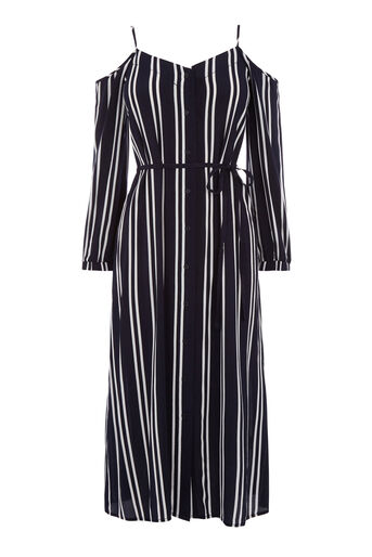 Warehouse, STRIPE COLD SHOULDER DRESS Blue Stripe 0