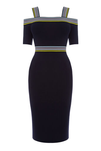 Warehouse, STRIPE TRIM BARDOT KNIT DRESS Navy 0