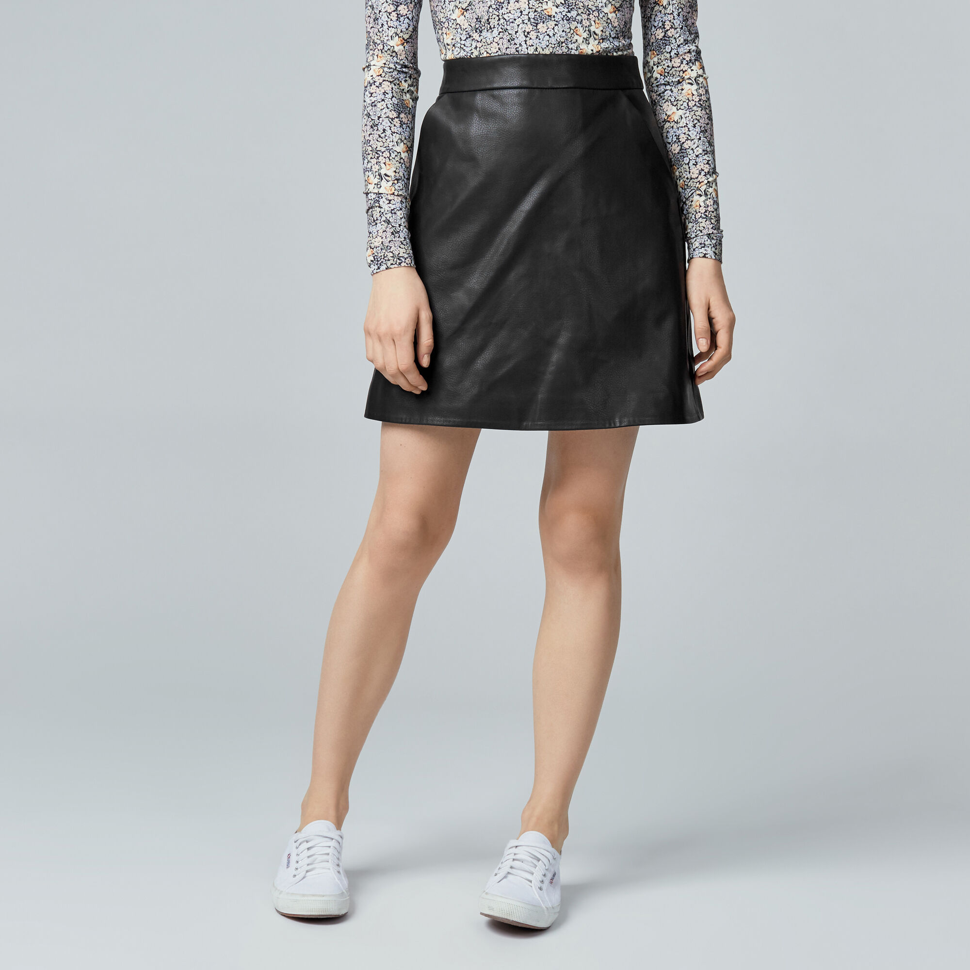 Warehouse, Faux Leather Pelmet Skirt Black 1