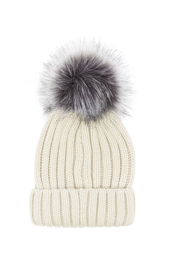 Warehouse, FAUX FUR POM HAT Cream 0