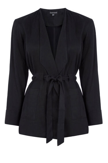 Warehouse, TENCEL TIE WAIST JACKET Black 0