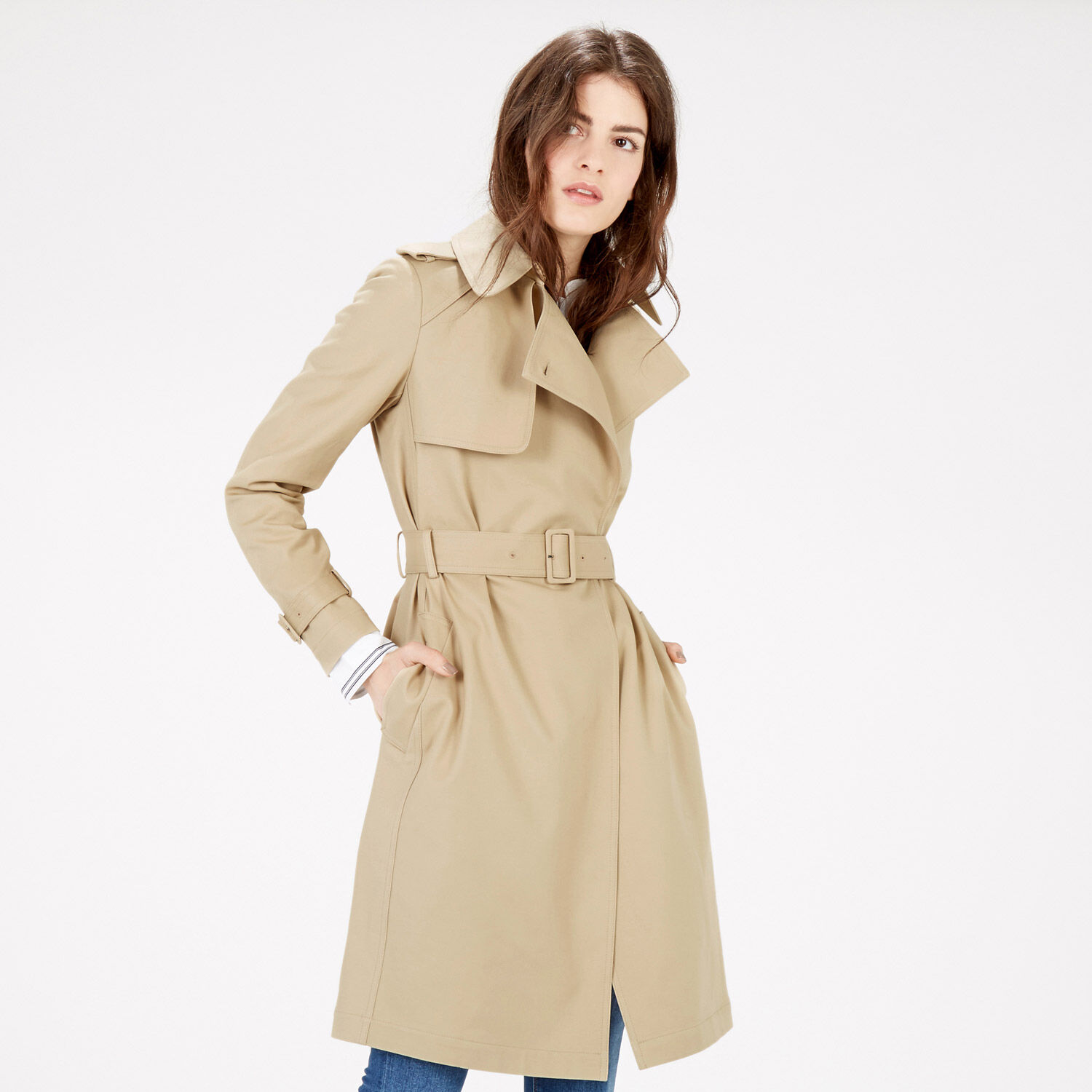Warehouse, Clean Belted Trench Coat Stone 1