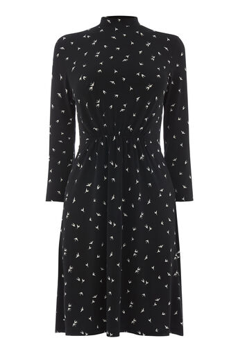 Warehouse, SWALLOW PRINT HIGH NECK DRESS Black Pattern 0