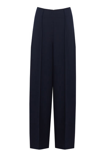 Warehouse, PINTUCK WIDE LEG TROUSER Navy 0