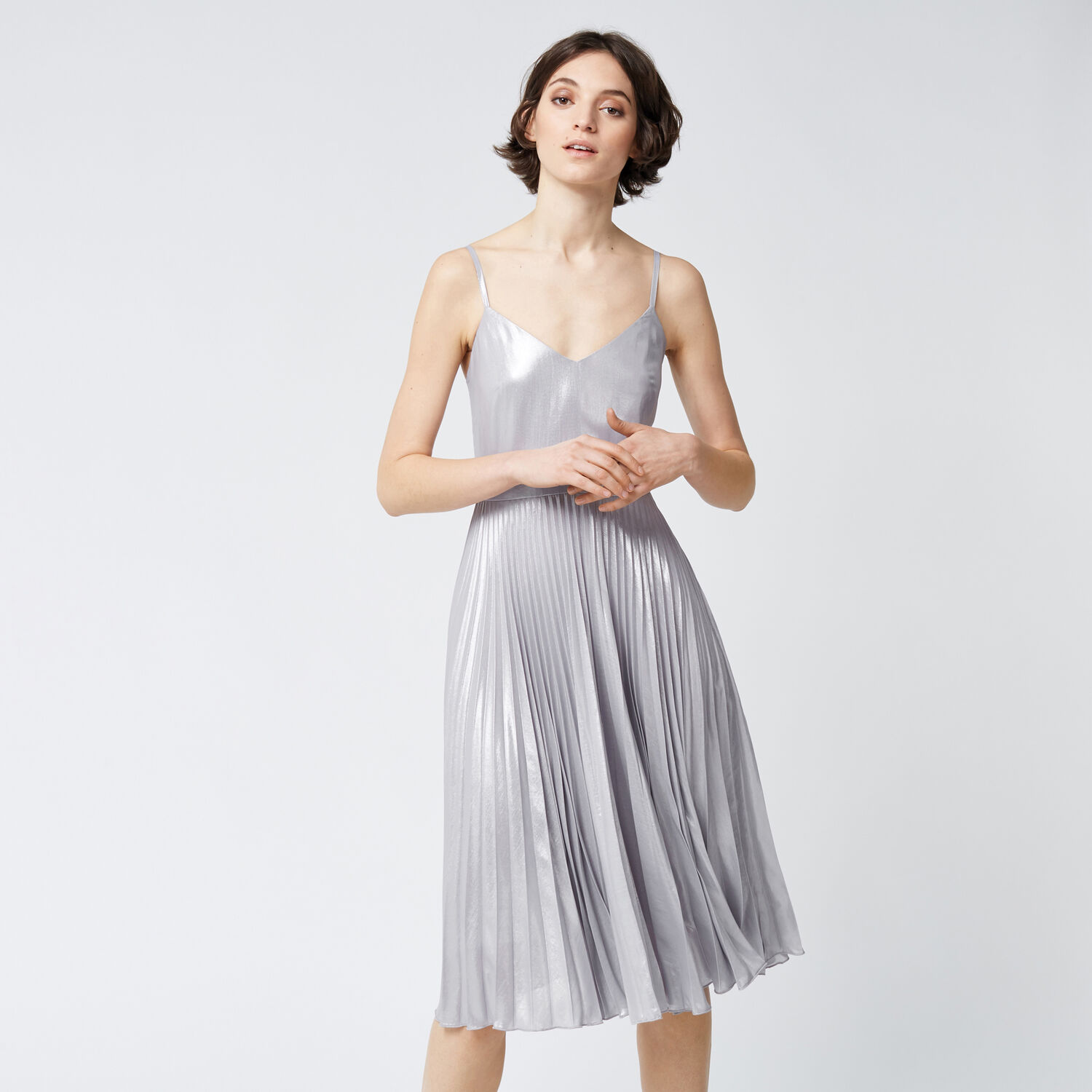 Warehouse, FOIL PLEATED DRESS Silver Colour 1