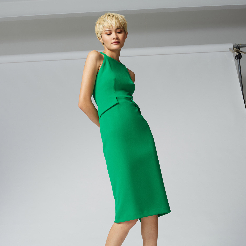 Warehouse, PINAFORE DRESS Bright Green 1