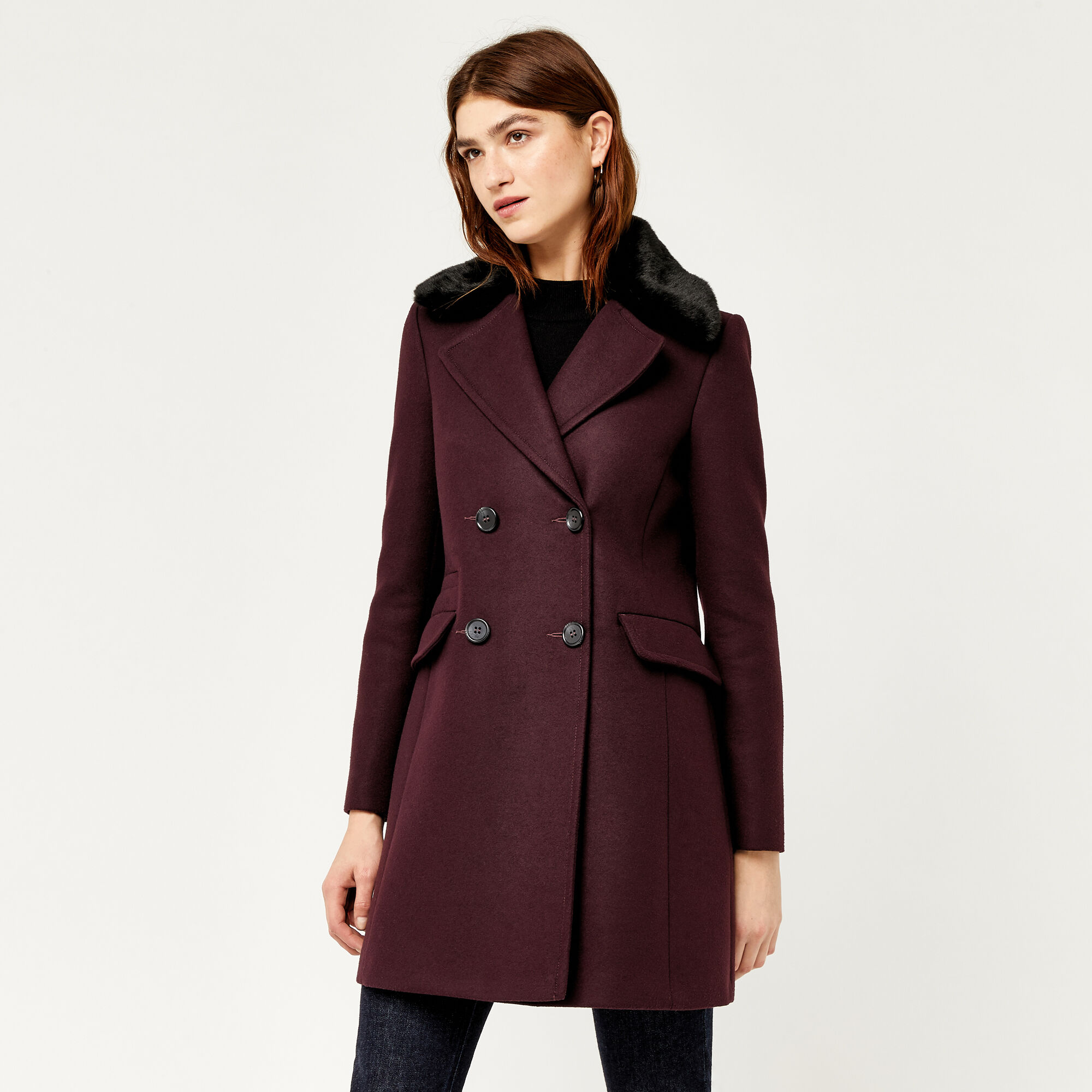 Warehouse, Double Breasted Faux Fur Coat Berry 1