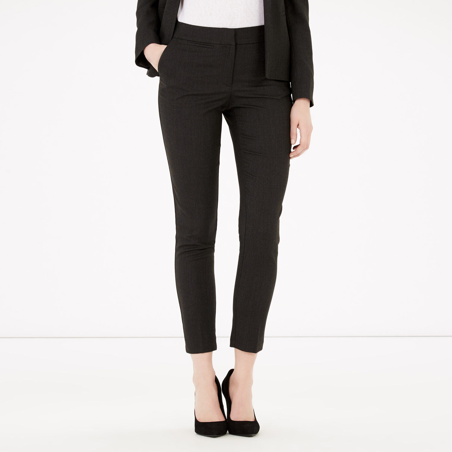 Warehouse, TEXTURED TAILORED TROUSERS Black 1