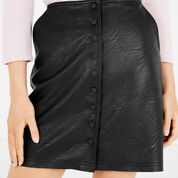 Warehouse, Popper Up Faux Leather Skirt Black 4
