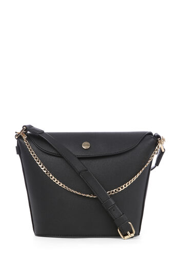 Warehouse, POPPER AND CHAIN BUCKET BAG Black 0