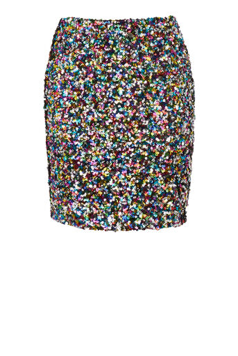Warehouse, RAINBOW SEQUIN MINI SKIRT Multi 0
