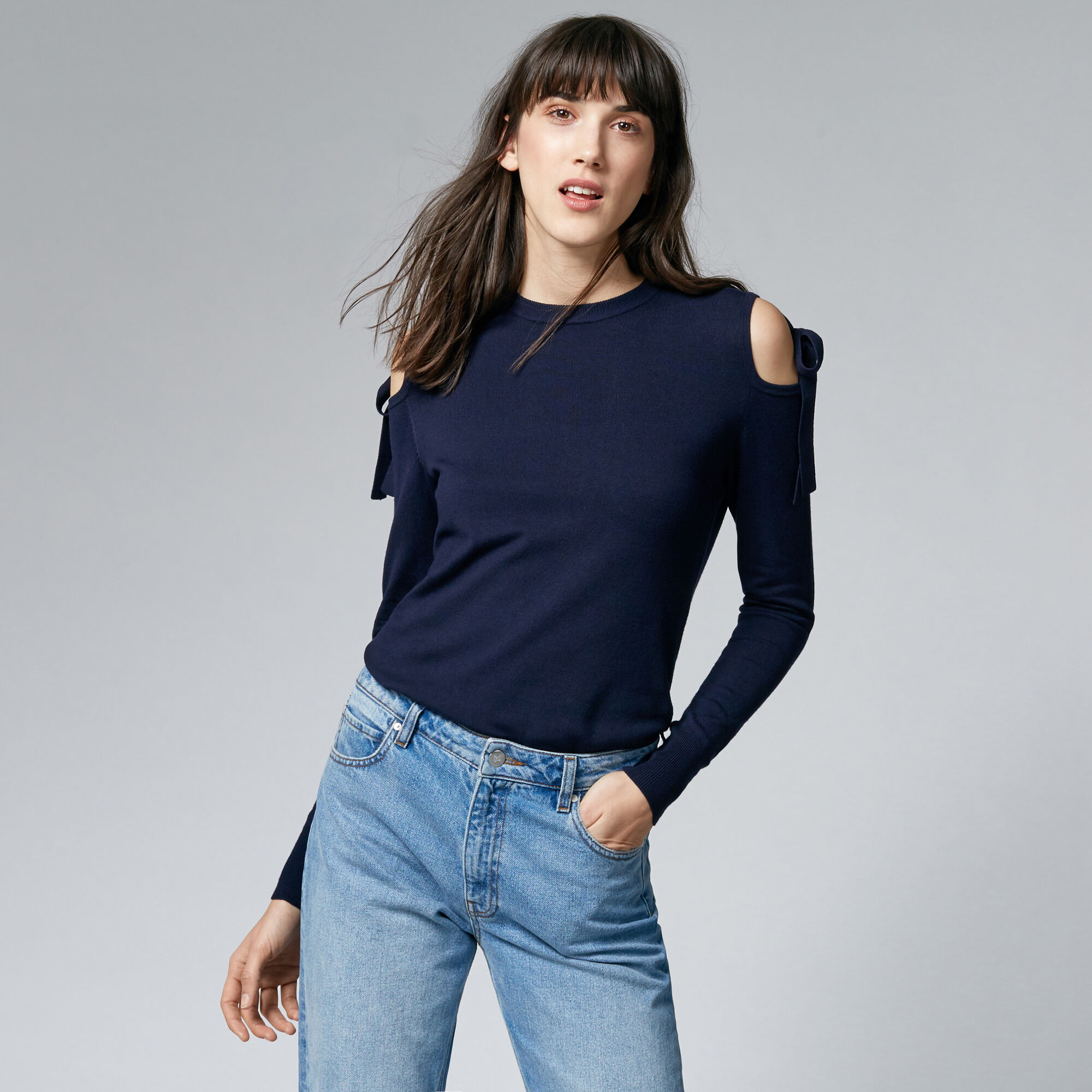 Warehouse, TIE SHOULDER JUMPER Navy 1
