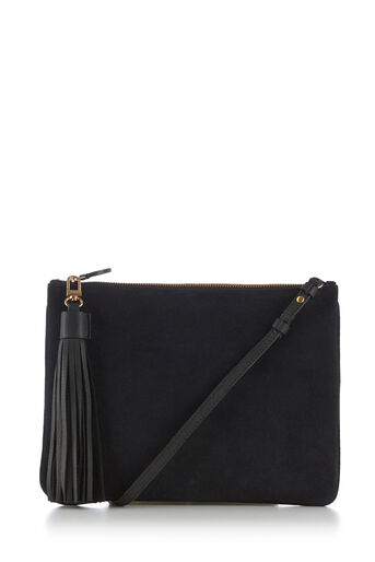 Warehouse, SUEDE TASSEL CROSSBODY BAG Navy 0