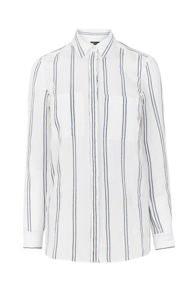 Warehouse, Linen Mix Stripe Shirt Neutral Stripe 0