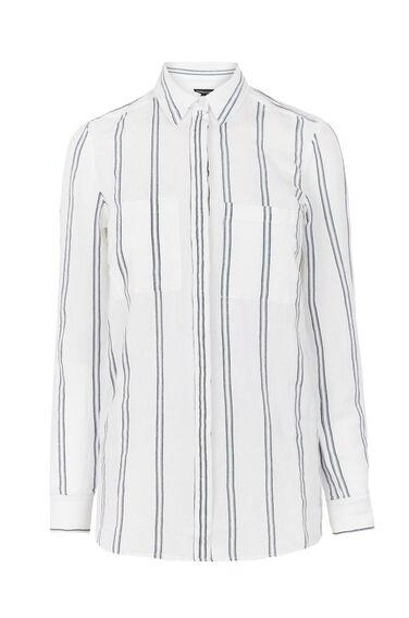 Warehouse, Linen Mix Stripe Shirt Neutral Stripe 0