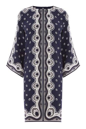 Warehouse, BANDANA PRINT TUNIC DRESS Navy 0