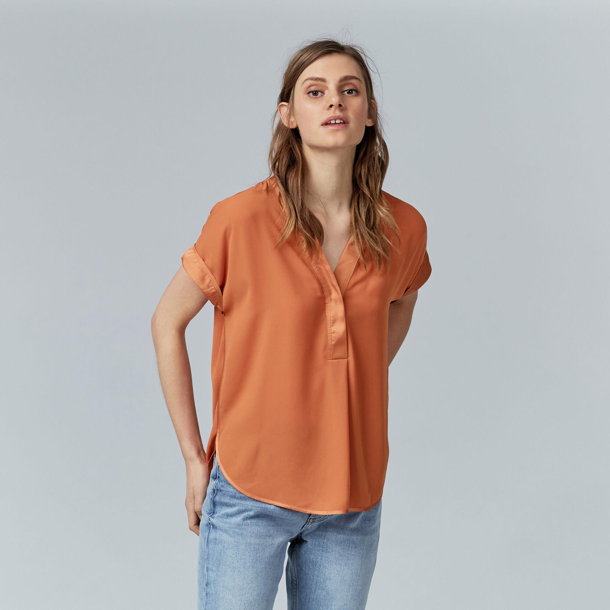 Warehouse, SATIN MIX BLOUSE Orange 1
