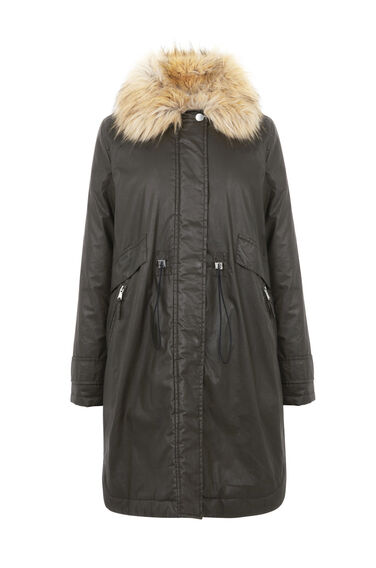 Warehouse, Hooded Waxed Parka Khaki 0