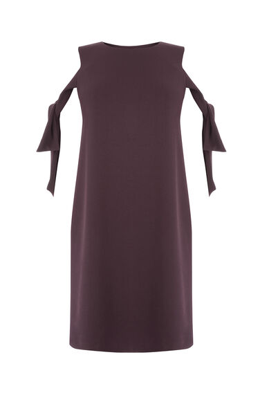 Warehouse, CREPE TIE SHOULDER DRESS Dark Purple 0