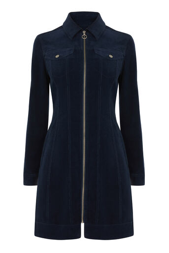 Warehouse, CORD DRESS Navy 0