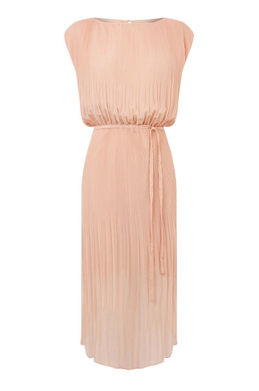 Warehouse, PLEATED CURVED HEM DRESS Light Pink 0