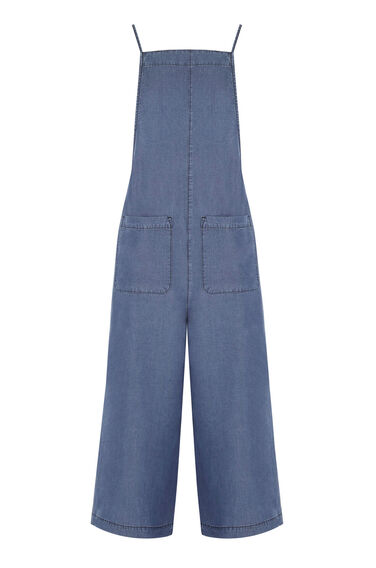 Warehouse, Strappy Culotte Jumpsuit Mid Wash Denim 0