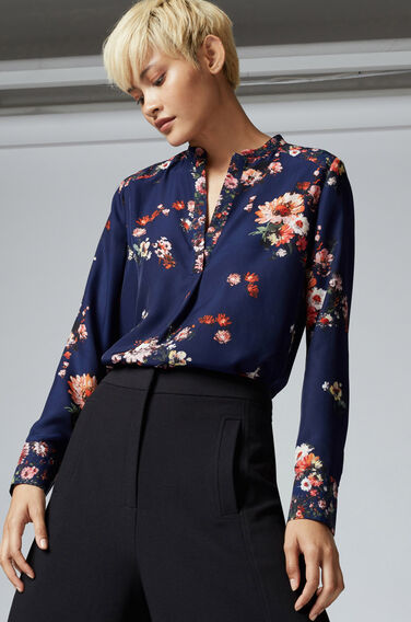 Warehouse, PAINTED FLORAL BLOUSE Blue Pattern 0