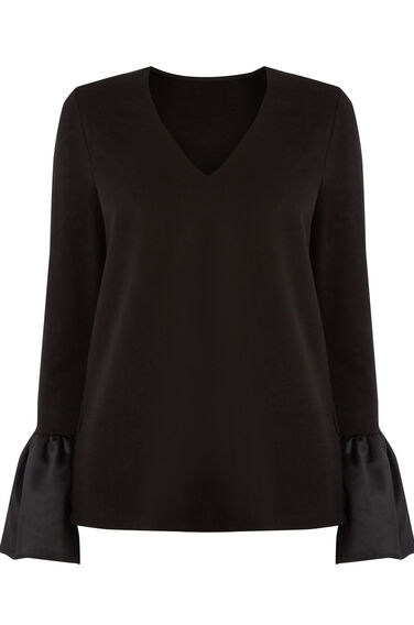 Warehouse, V NECK SATIN CUFF TOP Black 0