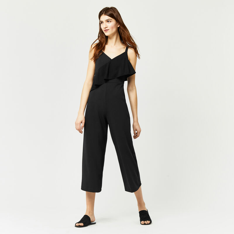 Warehouse, STRAPPY FRILL CREPE JUMPSUIT Black 1