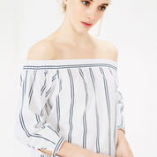 Warehouse, Cotton Off The Shoulder Top Neutral Stripe 4
